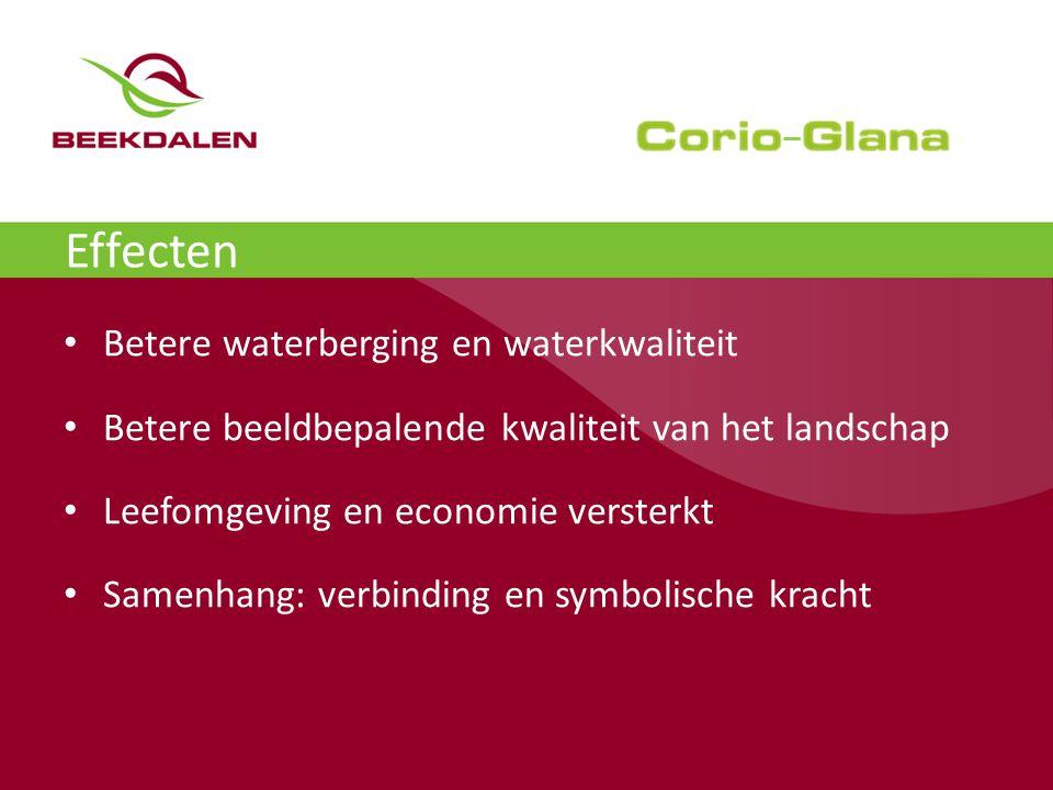 Vergroenen Geleenbeek levert geld op De kosten van het project Corio Glana waren aanvankelijk geraamd op 20 miljoen euro, maar zijn na versoberingen bijgesteld naar een kleine 17 miljoen.