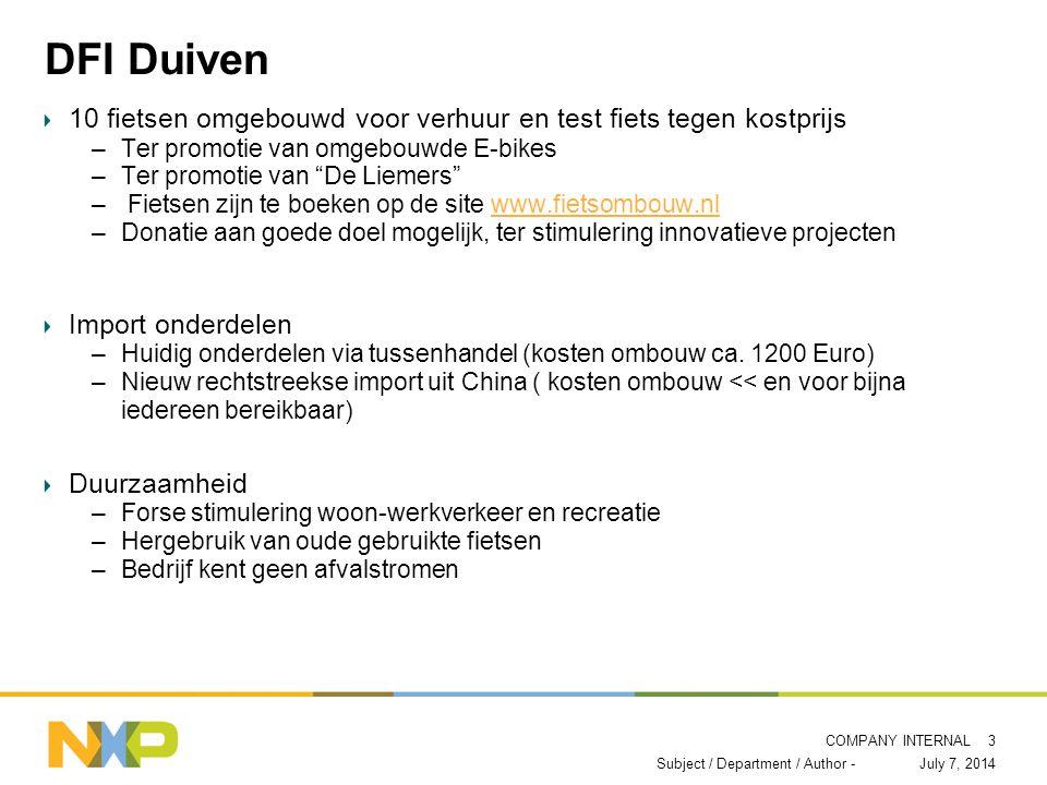 COMPANY INTERNAL DFI Duiven 10 fietsen omgebouwd voor verhuur en test fiets tegen kostprijs –Ter promotie van omgebouwde E-bikes –Ter promotie van De Liemers – Fietsen zijn te boeken op de site www.fietsombouw.nlwww.fietsombouw.nl –Donatie aan goede doel mogelijk, ter stimulering innovatieve projecten Import onderdelen –Huidig onderdelen via tussenhandel (kosten ombouw ca.
