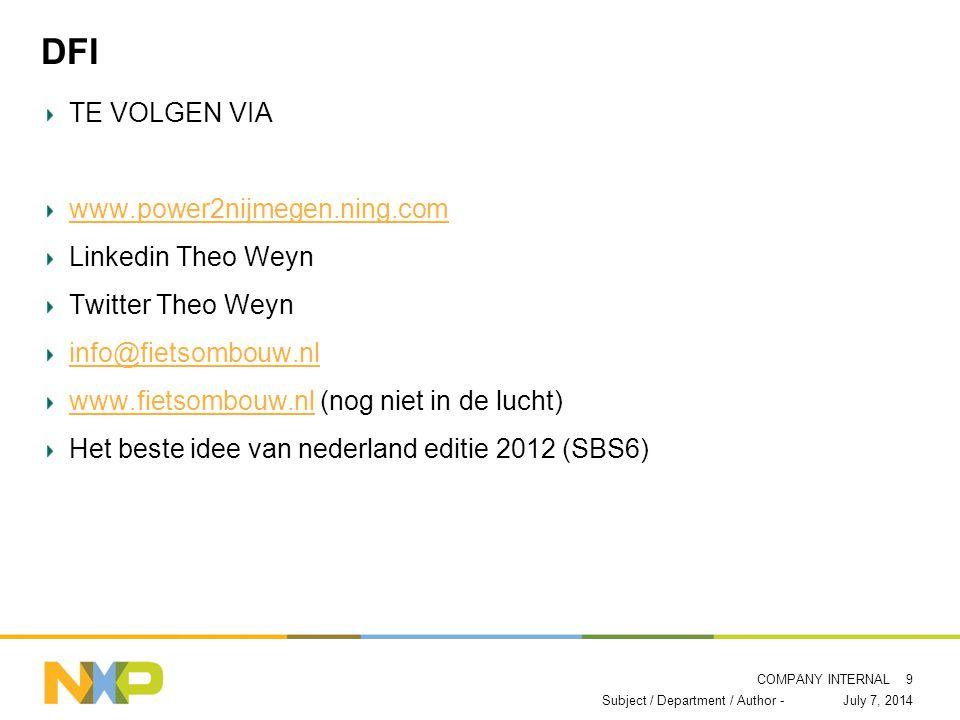 COMPANY INTERNAL DFI TE VOLGEN VIA www.power2nijmegen.ning.com Linkedin Theo Weyn Twitter Theo Weyn info@fietsombouw.nl www.fietsombouw.nlwww.fietsombouw.nl (nog niet in de lucht) Het beste idee van nederland editie 2012 (SBS6) July 7, 2014Subject / Department / Author - 9