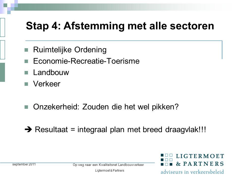 Ligtermoet & Partners Op weg naar een Kwaliteitsnet Landbouwverkeer september 2011 Ruimtelijke Ordening Economie-Recreatie-Toerisme Landbouw Verkeer Onzekerheid: Zouden die het wel pikken.