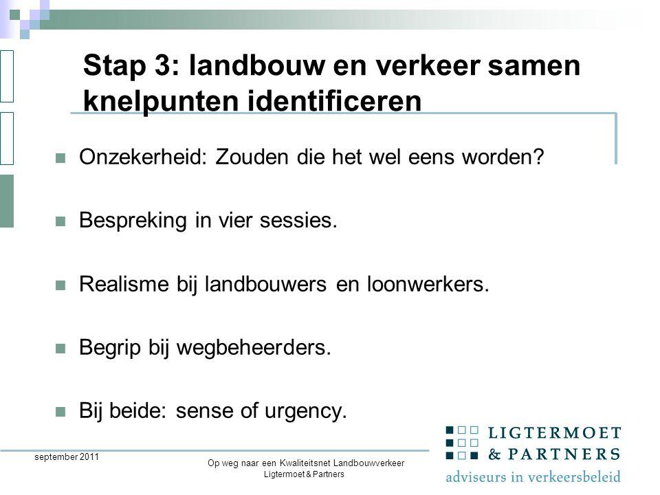 Ligtermoet & Partners Op weg naar een Kwaliteitsnet Landbouwverkeer september 2011 Onzekerheid: Zouden die het wel eens worden.