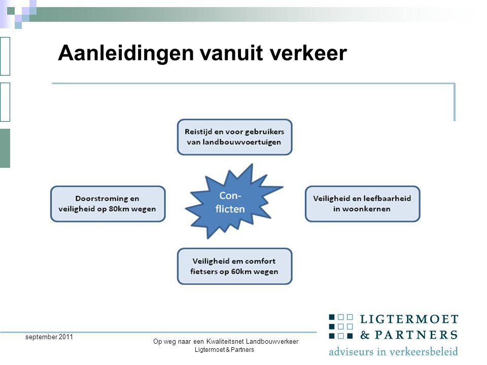 Ligtermoet & Partners september 2011 Aanleidingen vanuit verkeer Op weg naar een Kwaliteitsnet Landbouwverkeer