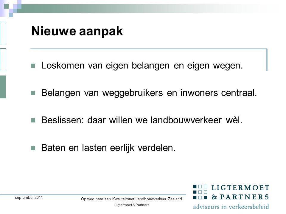 Ligtermoet & Partners Op weg naar een Kwaliteitsnet Landbouwverkeer Zeeland september 2011 Loskomen van eigen belangen en eigen wegen.