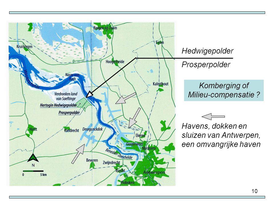 10 Havens, dokken en sluizen van Antwerpen, een omvangrijke haven Hedwigepolder Prosperpolder Komberging of Milieu-compensatie ?