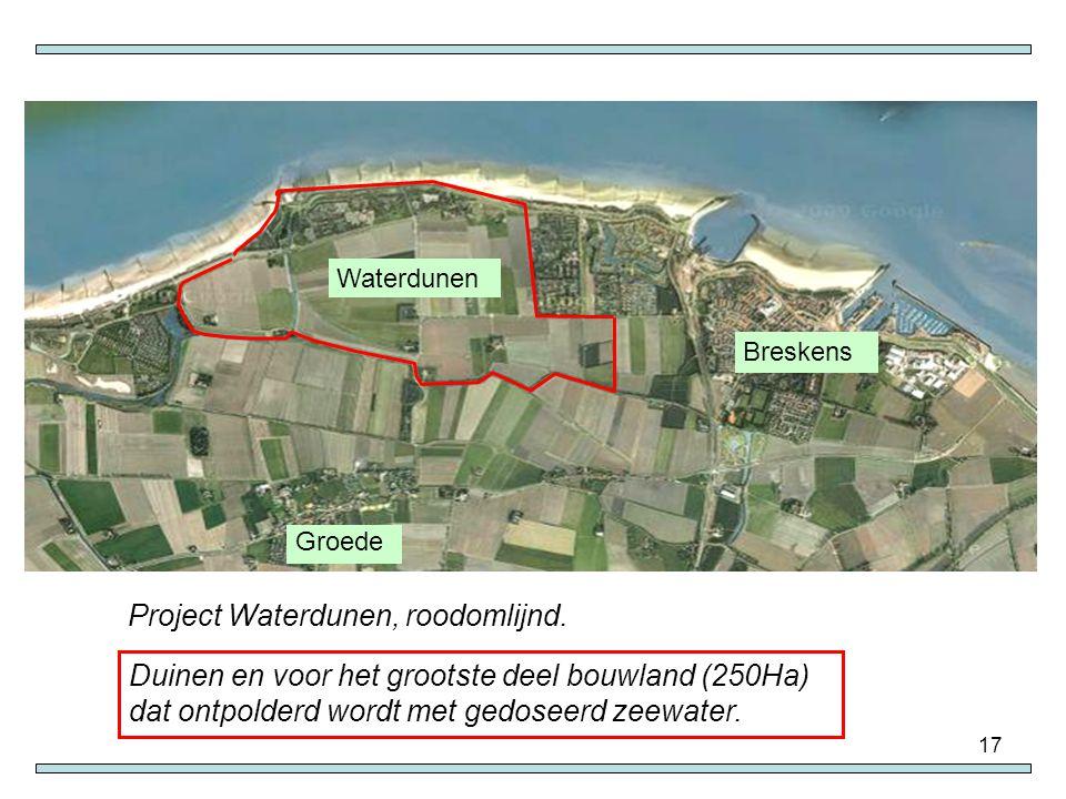 17 Groede Breskens Waterdunen Project Waterdunen, roodomlijnd. Duinen en voor het grootste deel bouwland (250Ha) dat ontpolderd wordt met gedoseerd ze