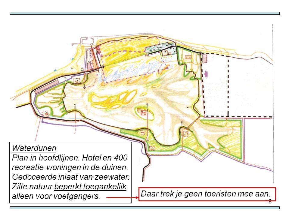 18 Waterdunen Plan in hoofdlijnen. Hotel en 400 recreatie-woningen in de duinen. Gedoceerde inlaat van zeewater. Zilte natuur beperkt toegankelijk all