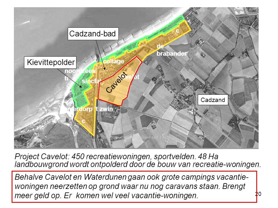 20 Cadzand Cavelot Cadzand-bad Kievittepolder Project Cavelot: 450 recreatiewoningen, sportvelden. 48 Ha landbouwgrond wordt ontpolderd door de bouw v