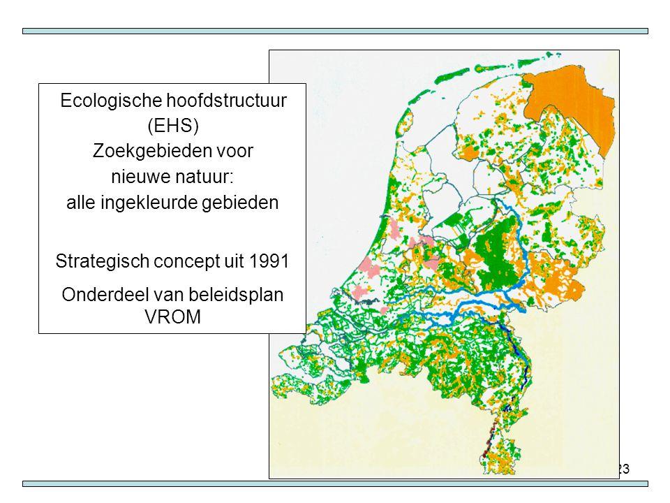 23 Ecologische hoofdstructuur (EHS) Zoekgebieden voor nieuwe natuur: alle ingekleurde gebieden Strategisch concept uit 1991 Onderdeel van beleidsplan