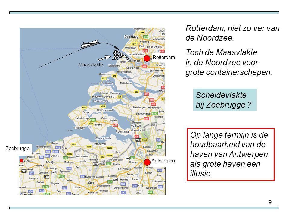 9 Rotterdam, niet zo ver van de Noordzee. Toch de Maasvlakte in de Noordzee voor grote containerschepen. Scheldevlakte bij Zeebrugge ? Op lange termij