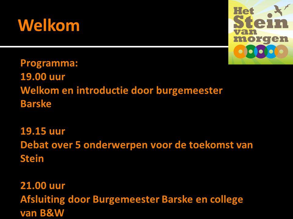 Welkom Programma: 19.00 uur Welkom en introductie door burgemeester Barske 19.15 uur Debat over 5 onderwerpen voor de toekomst van Stein 21.00 uur Afsluiting door Burgemeester Barske en college van B&W