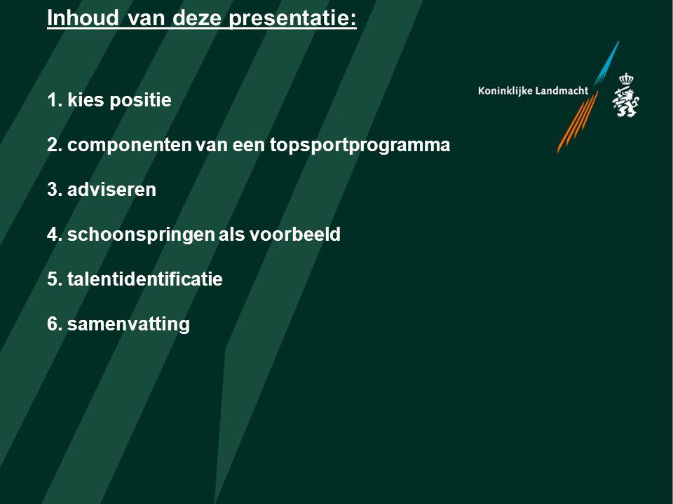 Inhoud van deze presentatie: 1. kies positie 2. componenten van een topsportprogramma 3.