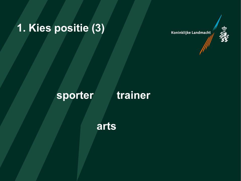 1. Kies positie (3) sportertrainer arts
