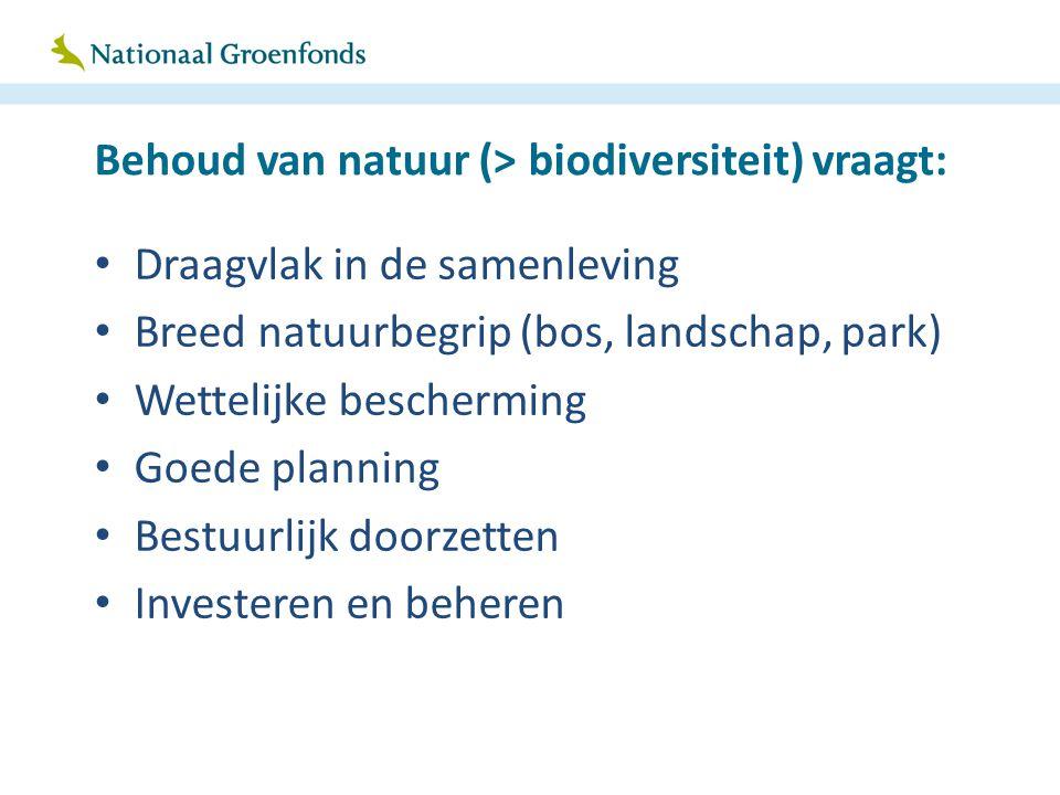 Behoud van natuur (> biodiversiteit) vraagt: Draagvlak in de samenleving Breed natuurbegrip (bos, landschap, park) Wettelijke bescherming Goede planni