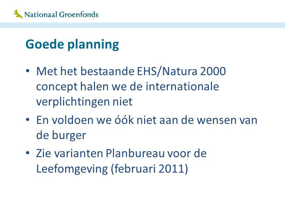Goede planning Met het bestaande EHS/Natura 2000 concept halen we de internationale verplichtingen niet En voldoen we óók niet aan de wensen van de bu