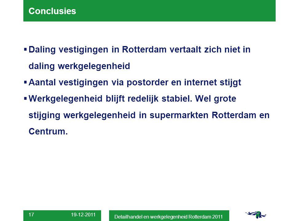 Conclusies  Daling vestigingen in Rotterdam vertaalt zich niet in daling werkgelegenheid  Aantal vestigingen via postorder en internet stijgt  Werkgelegenheid blijft redelijk stabiel.