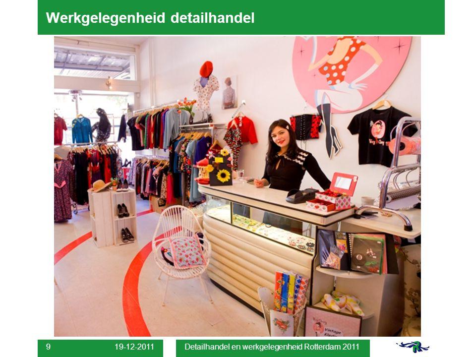 19-12-2011 Detailhandel en werkgelegenheid Rotterdam 2011 9 Werkgelegenheid detailhandel