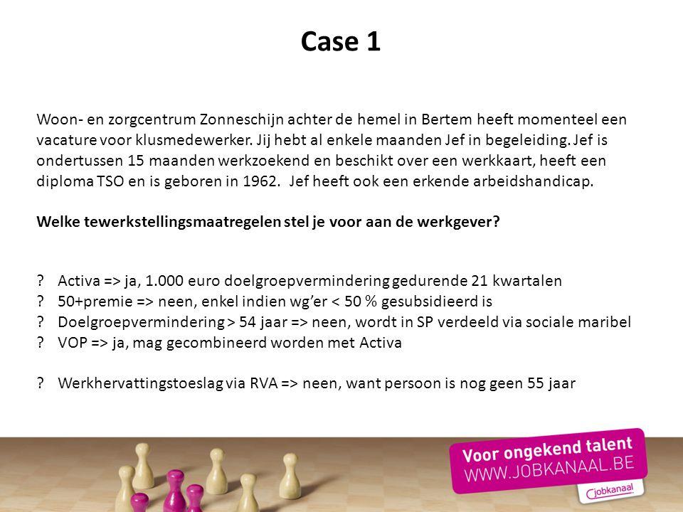 Case 1 Woon- en zorgcentrum Zonneschijn achter de hemel in Bertem heeft momenteel een vacature voor klusmedewerker. Jij hebt al enkele maanden Jef in
