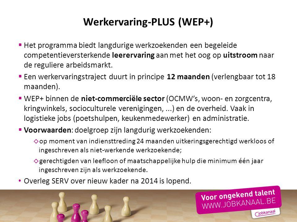 Werkervaring-PLUS (WEP+)  Het programma biedt langdurige werkzoekenden een begeleide competentieversterkende leerervaring aan met het oog op uitstroo