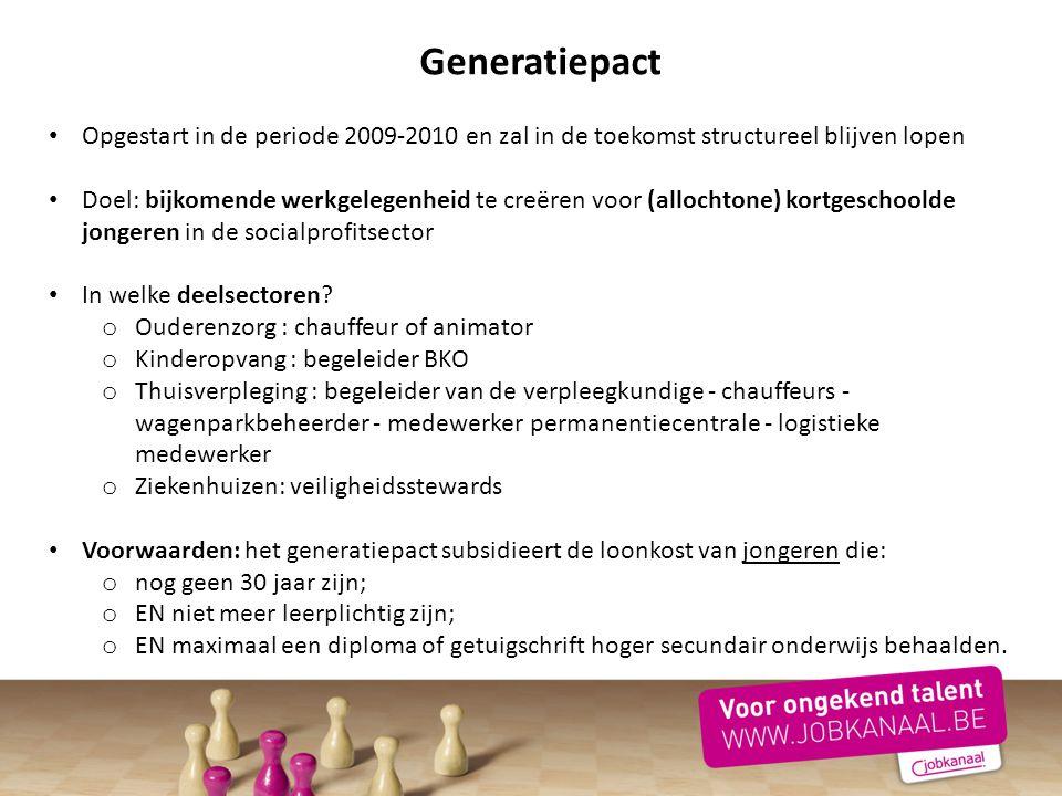 Generatiepact Opgestart in de periode 2009-2010 en zal in de toekomst structureel blijven lopen Doel: bijkomende werkgelegenheid te creëren voor (allo