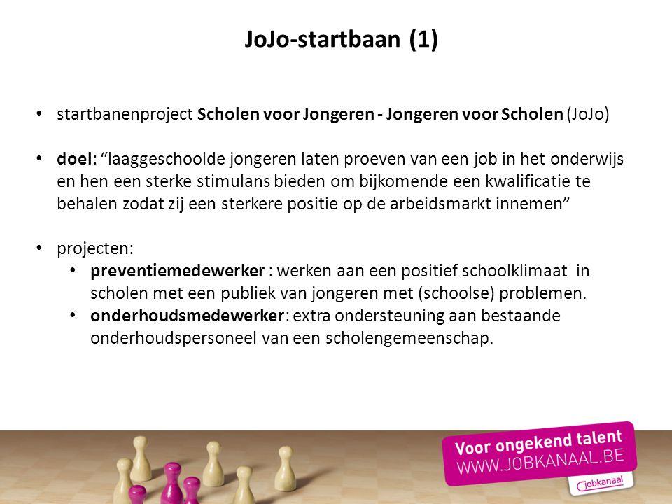 """JoJo-startbaan (1) startbanenproject Scholen voor Jongeren - Jongeren voor Scholen (JoJo) doel: """"laaggeschoolde jongeren laten proeven van een job in"""