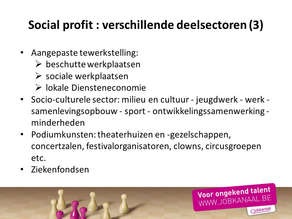 Aangepaste tewerkstelling:  beschutte werkplaatsen  sociale werkplaatsen  lokale Diensteneconomie Socio-culturele sector: milieu en cultuur - jeugd