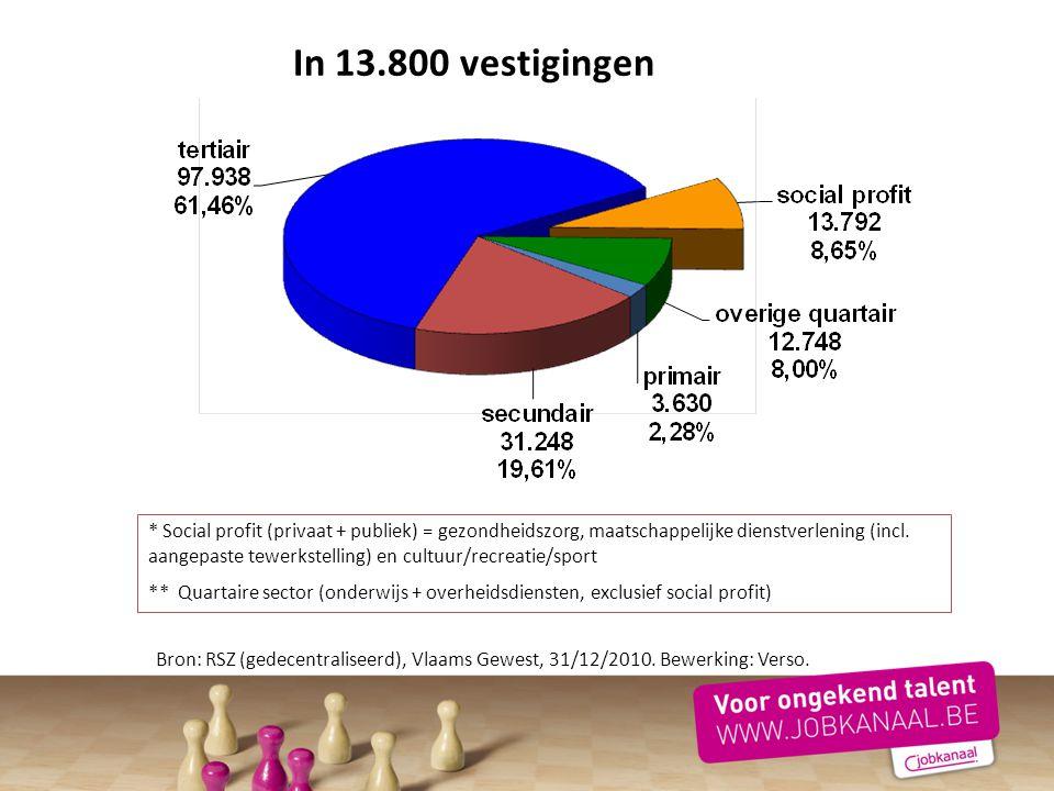 In 13.800 vestigingen Bron: RSZ (gedecentraliseerd), Vlaams Gewest, 31/12/2010. Bewerking: Verso. * Social profit (privaat + publiek) = gezondheidszor
