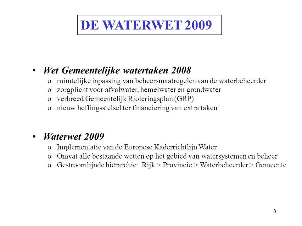3 DE WATERWET 2009 Wet Gemeentelijke watertaken 2008 o ruimtelijke inpassing van beheersmaatregelen van de waterbeheerder o zorgplicht voor afvalwater, hemelwater en grondwater o verbreed Gemeentelijk Rioleringsplan (GRP) o nieuw heffingsstelsel ter financiering van extra taken Waterwet 2009 o Implementatie van de Europese Kaderrichtlijn Water o Omvat alle bestaande wetten op het gebied van watersystemen en beheer o Gestroomlijnde hiërarchie: Rijk > Provincie > Waterbeheerder > Gemeente