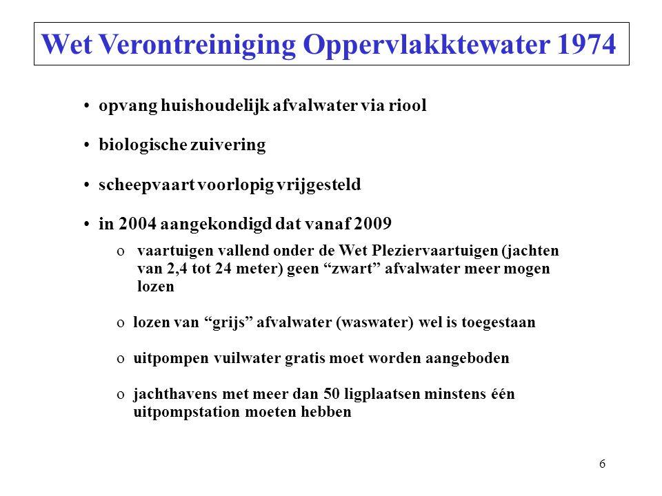 6 Wet Verontreiniging Oppervlakktewater 1974 opvang huishoudelijk afvalwater via riool biologische zuivering scheepvaart voorlopig vrijgesteld in 2004 aangekondigd dat vanaf 2009 o vaartuigen vallend onder de Wet Pleziervaartuigen (jachten van 2,4 tot 24 meter) geen zwart afvalwater meer mogen lozen o lozen van grijs afvalwater (waswater) wel is toegestaan o uitpompen vuilwater gratis moet worden aangeboden o jachthavens met meer dan 50 ligplaatsen minstens één uitpompstation moeten hebben