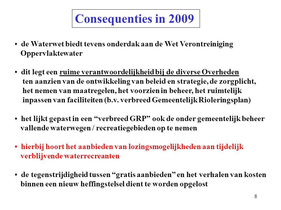 8 Consequenties in 2009 de Waterwet biedt tevens onderdak aan de Wet Verontreiniging Oppervlaktewater dit legt een ruime verantwoordelijkheid bij de diverse Overheden ten aanzien van de ontwikkeling van beleid en strategie, de zorgplicht, het nemen van maatregelen, het voorzien in beheer, het ruimtelijk inpassen van faciliteiten (b.v.