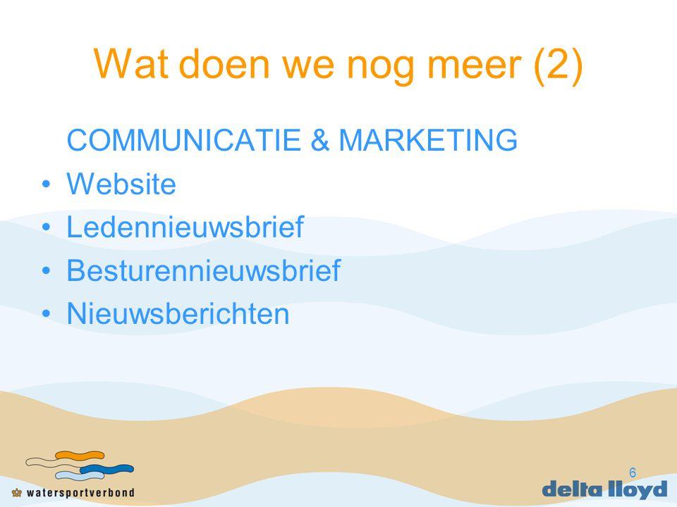 6 Wat doen we nog meer (2) COMMUNICATIE & MARKETING Website Ledennieuwsbrief Besturennieuwsbrief Nieuwsberichten