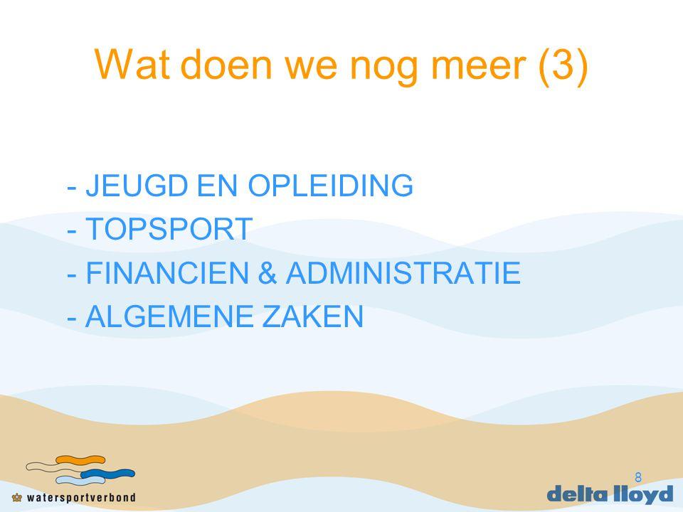 8 Wat doen we nog meer (3) - JEUGD EN OPLEIDING - TOPSPORT - FINANCIEN & ADMINISTRATIE - ALGEMENE ZAKEN