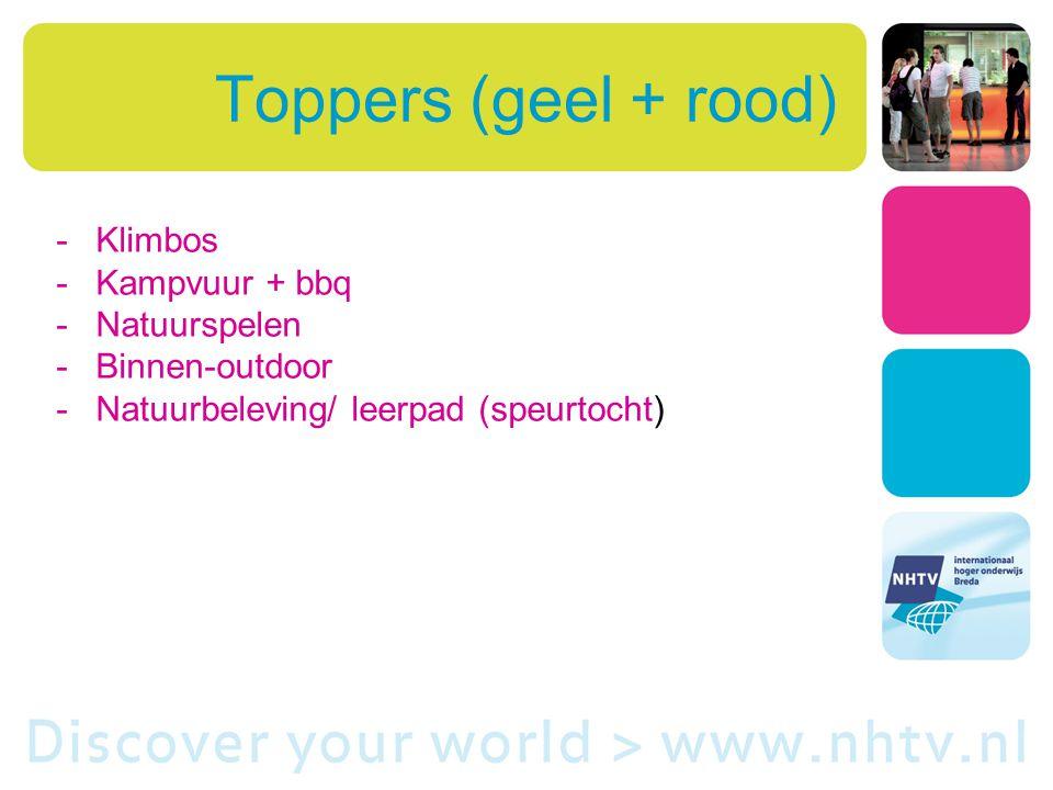 Toppers (geel + rood) -Klimbos -Kampvuur + bbq -Natuurspelen -Binnen-outdoor -Natuurbeleving/ leerpad (speurtocht)