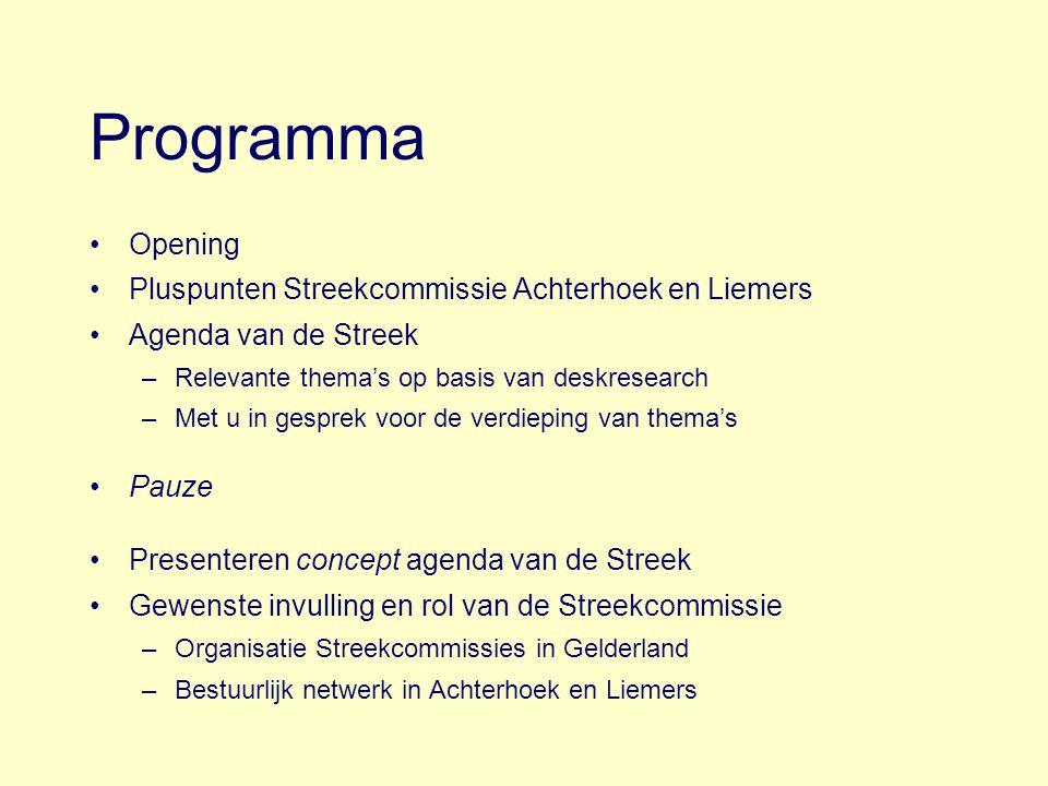 Programma Opening Pluspunten Streekcommissie Achterhoek en Liemers Agenda van de Streek –Relevante thema's op basis van deskresearch –Met u in gesprek