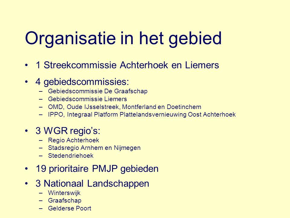 Organisatie in het gebied 1 Streekcommissie Achterhoek en Liemers 4 gebiedscommissies: –Gebiedscommissie De Graafschap –Gebiedscommissie Liemers –OMD,