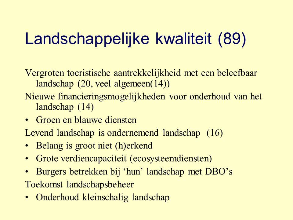 Landschappelijke kwaliteit (89) Vergroten toeristische aantrekkelijkheid met een beleefbaar landschap (20, veel algemeen(14)) Nieuwe financieringsmoge