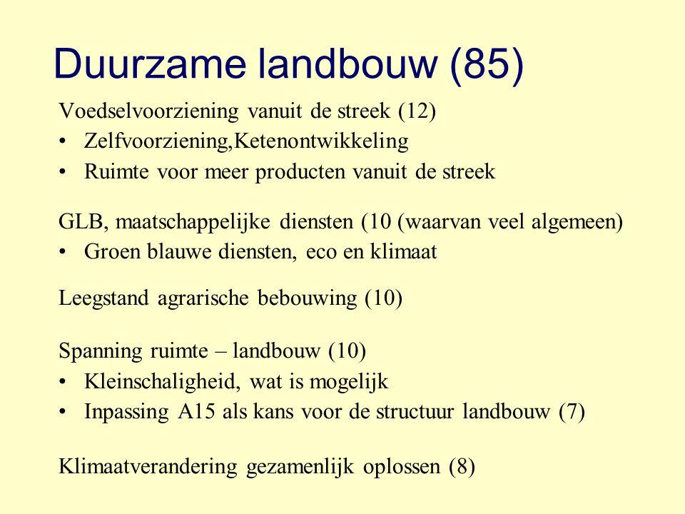 Duurzame landbouw (85) Voedselvoorziening vanuit de streek (12) Zelfvoorziening,Ketenontwikkeling Ruimte voor meer producten vanuit de streek GLB, maa