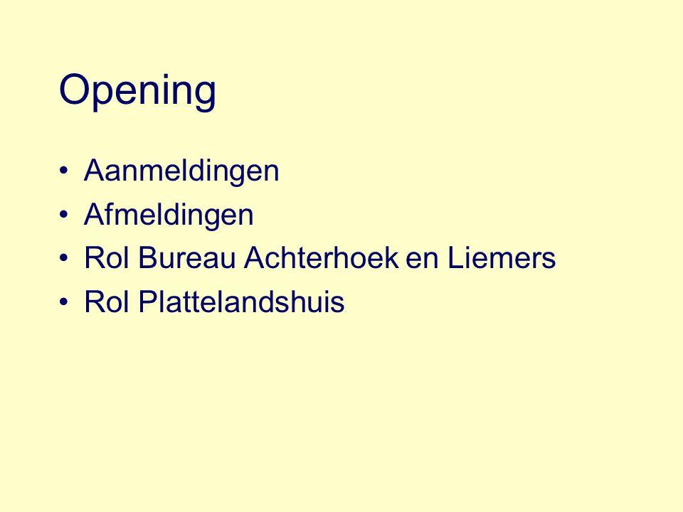 Opening Aanmeldingen Afmeldingen Rol Bureau Achterhoek en Liemers Rol Plattelandshuis