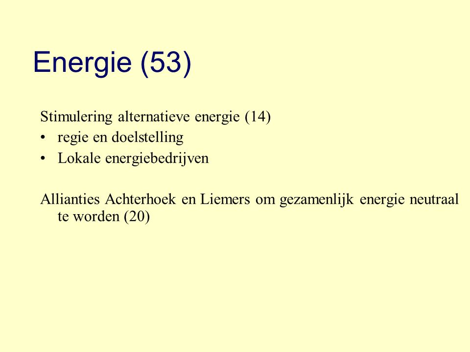 Energie (53) Stimulering alternatieve energie (14) regie en doelstelling Lokale energiebedrijven Allianties Achterhoek en Liemers om gezamenlijk energ