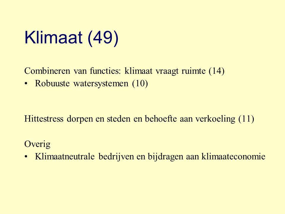 Klimaat (49) Combineren van functies: klimaat vraagt ruimte (14) Robuuste watersystemen (10) Hittestress dorpen en steden en behoefte aan verkoeling (