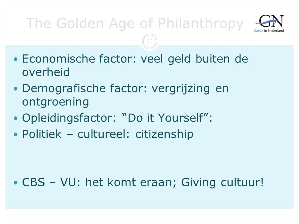 """The Golden Age of Philanthropy Economische factor: veel geld buiten de overheid Demografische factor: vergrijzing en ontgroening Opleidingsfactor: """"Do"""