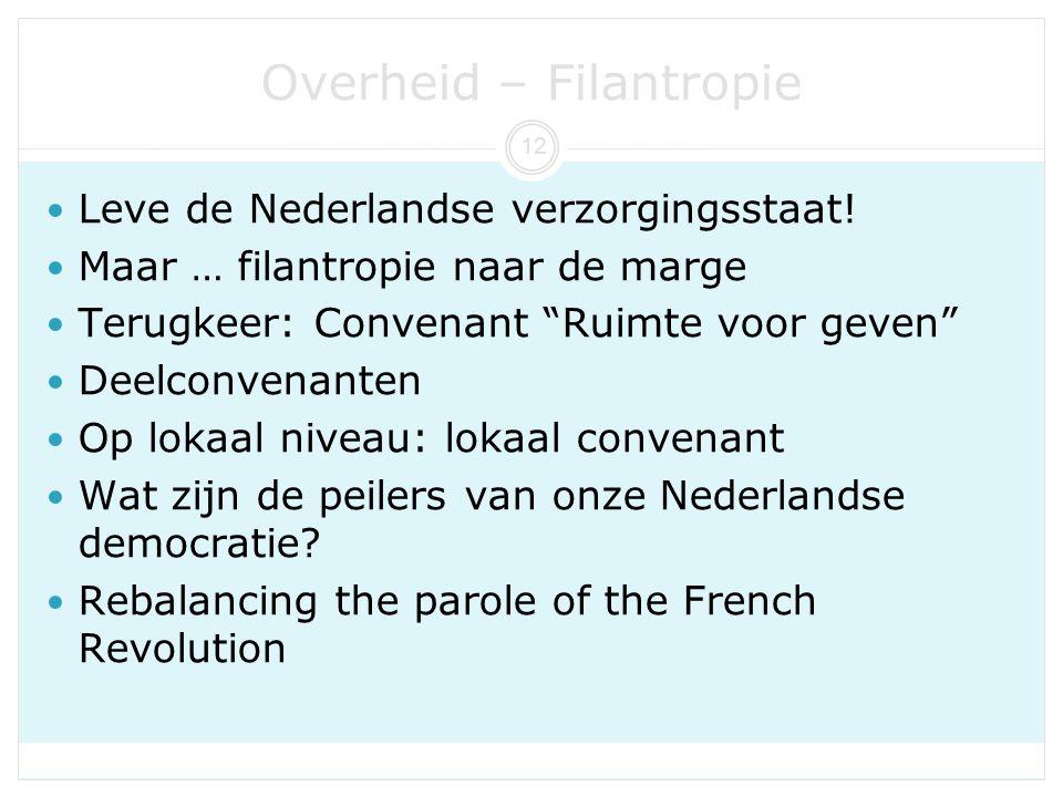 """Overheid – Filantropie Leve de Nederlandse verzorgingsstaat! Maar … filantropie naar de marge Terugkeer: Convenant """"Ruimte voor geven"""" Deelconvenanten"""