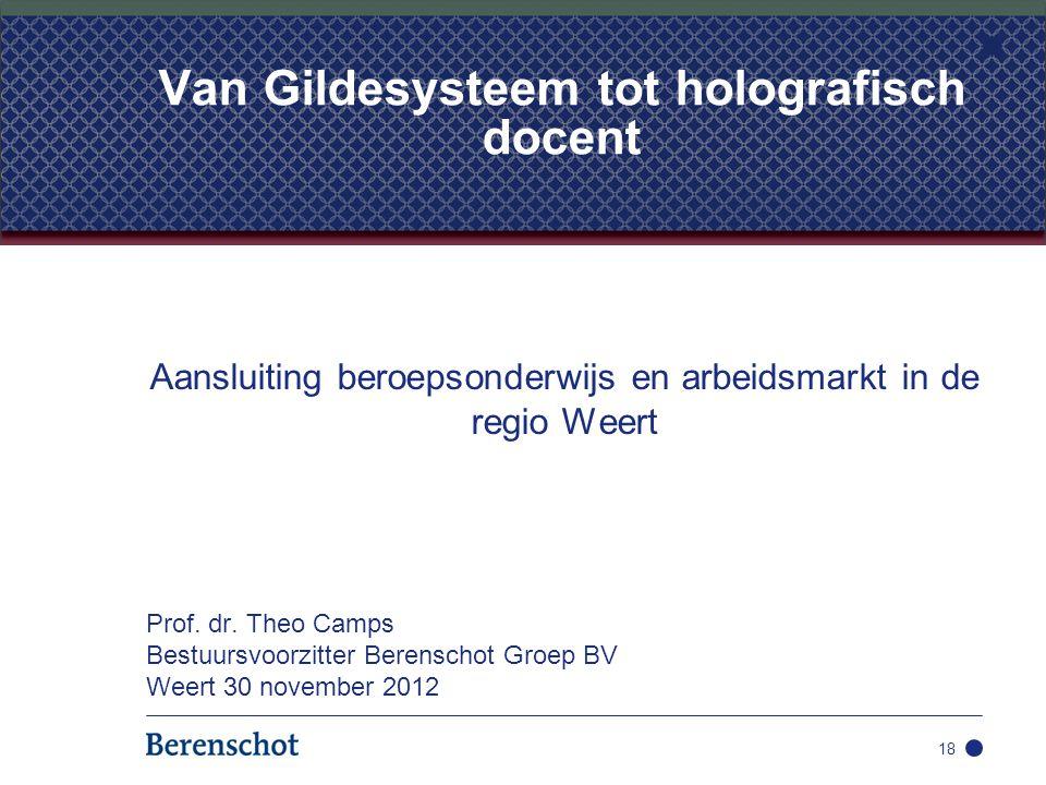 Aansluiting beroepsonderwijs en arbeidsmarkt in de regio Weert Prof. dr. Theo Camps Bestuursvoorzitter Berenschot Groep BV Weert 30 november 2012 18 V