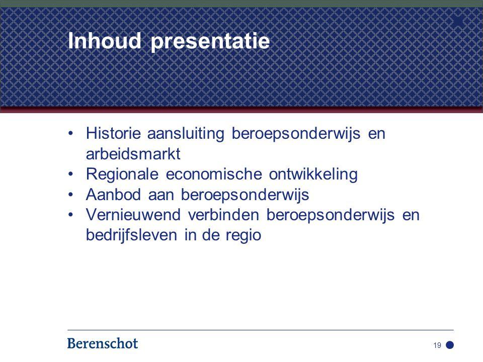 Historie aansluiting beroepsonderwijs en arbeidsmarkt Regionale economische ontwikkeling Aanbod aan beroepsonderwijs Vernieuwend verbinden beroepsonde