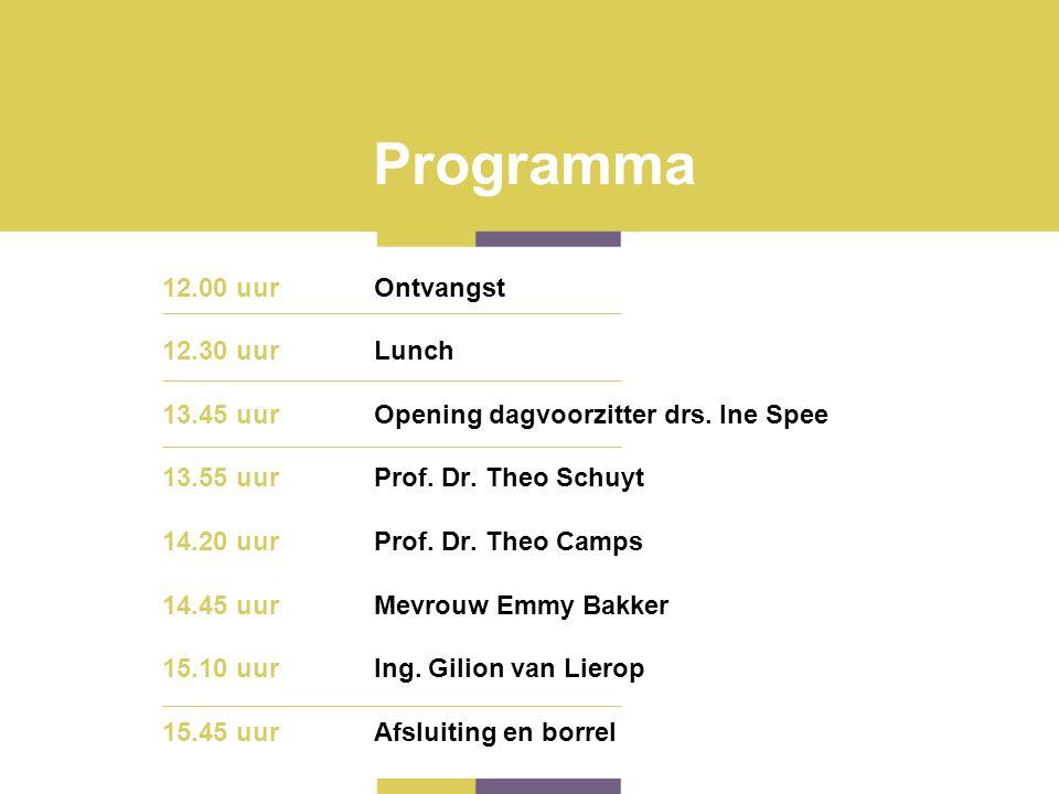 Programma 12.00 uur Ontvangst 12.30 uur Lunch 13.45 uur Opening dagvoorzitter drs. Ine Spee 13.55 uur Prof. Dr. Theo Schuyt 14.20 uurProf. Dr. Theo Ca