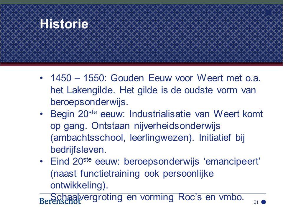 1450 – 1550: Gouden Eeuw voor Weert met o.a. het Lakengilde. Het gilde is de oudste vorm van beroepsonderwijs. Begin 20 ste eeuw: Industrialisatie van