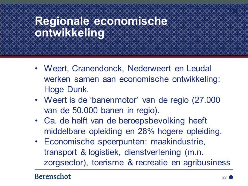 Weert, Cranendonck, Nederweert en Leudal werken samen aan economische ontwikkeling: Hoge Dunk. Weert is de 'banenmotor' van de regio (27.000 van de 50