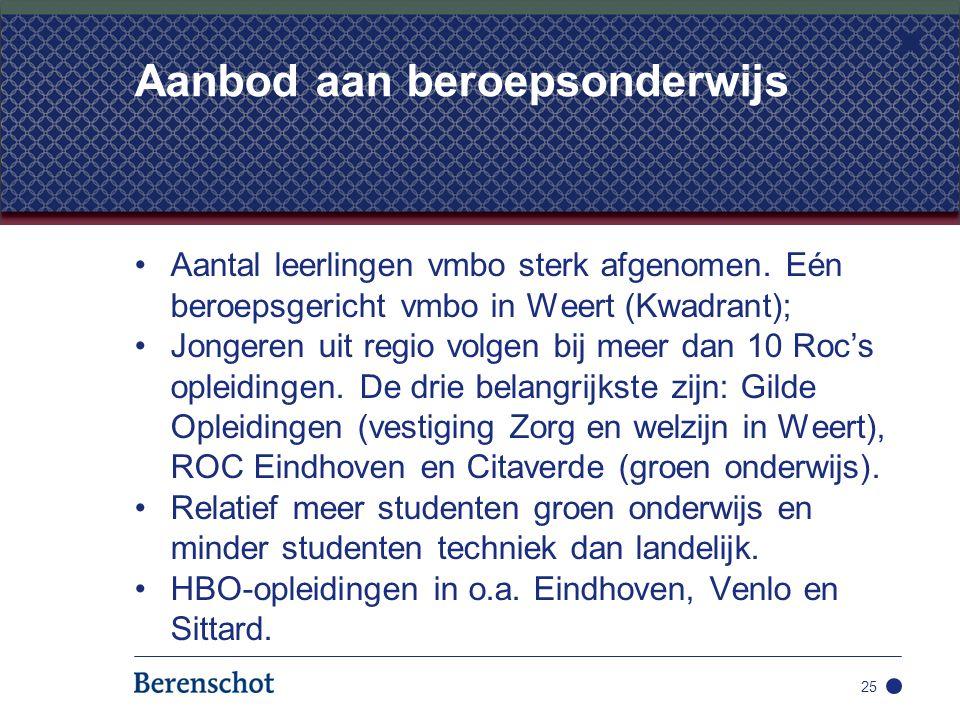 Aantal leerlingen vmbo sterk afgenomen. Eén beroepsgericht vmbo in Weert (Kwadrant); Jongeren uit regio volgen bij meer dan 10 Roc's opleidingen. De d