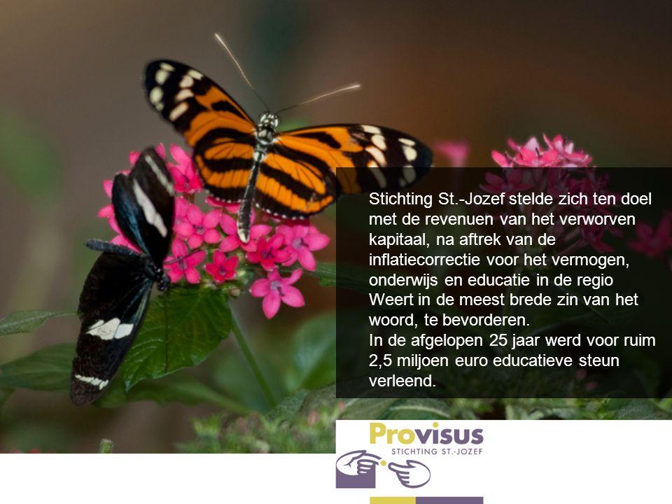 Stichting St.-Jozef stelde zich ten doel met de revenuen van het verworven kapitaal, na aftrek van de inflatiecorrectie voor het vermogen, onderwijs e