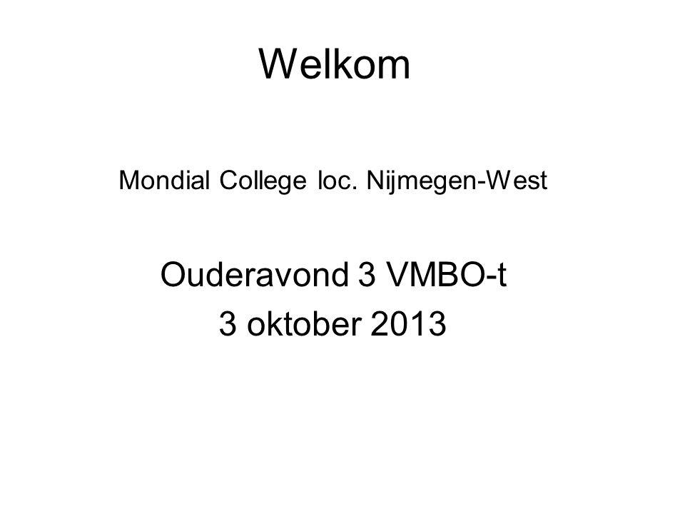 Welkom Mondial College loc. Nijmegen-West Ouderavond 3 VMBO-t 3 oktober 2013