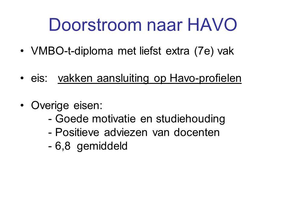 Doorstroom naar HAVO VMBO-t-diploma met liefst extra (7e) vak eis: vakken aansluiting op Havo-profielen Overige eisen: - Goede motivatie en studiehouding - Positieve adviezen van docenten - 6,8 gemiddeld